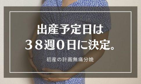 初産の計画無痛分娩。予定日は38週0日